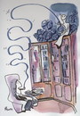 Cartoon: PARTNERS (small) by Kestutis tagged partners friendship library ghost pipe smoke