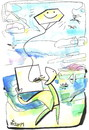 Cartoon: PLEIN AIR (small) by Kestutis tagged pleinair kite drachen kunstler artist landscape space