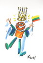 Cartoon: ROYAL BASKETBALL (small) by Kestutis tagged basketball,flag,crown,fans,fiesta,kestutis,lithuania