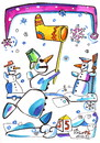 Cartoon: Snowman travels to Santa Claus (small) by Kestutis tagged snowman santa claus kestutis lithuania schneemann weihnachten christmas