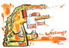 Cartoon: WELCOME! (small) by Kestutis tagged welcome,food,beware,crocodile,brot,bread,salz,salt,alcohol