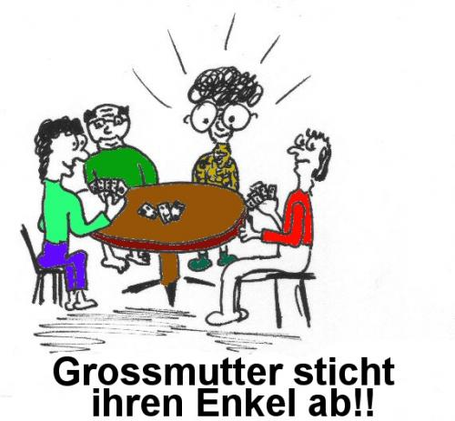 Cartoon: Grossmutter stach Enkel ab (medium) by al_sub tagged jassen,grossmutter,headline