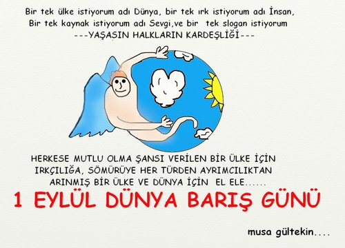 Cartoon: International Day of Peace (medium) by musa gültekin tagged world,heart,run,angel