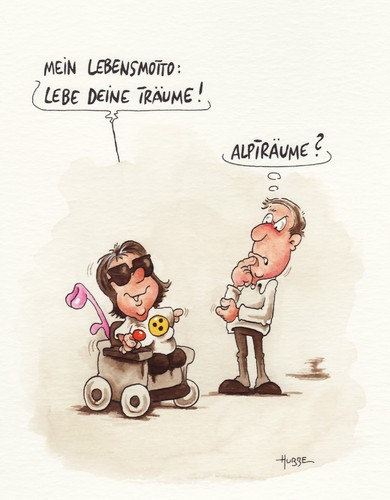 Cartoon: alpträume (medium) by ms rainer tagged rollstuhl,träume
