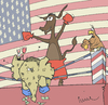 Cartoon: Yessss he can! (small) by Pierre tagged usa,obama,us,wahl,election,muschel,miesmuschel,elefant,esel,boxen,ring