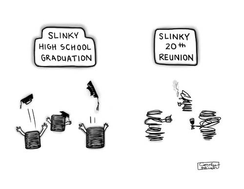 Cartoon: Probably Not Reversible (medium) by a zillion dollars comics tagged celebration,drinking,fun,school,aging,toys,graduation