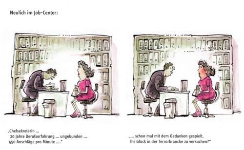 Cartoon: Job-Center (medium) by Stolle tagged karriere,job,arbeitslosigkeit,neuanfang,beruf
