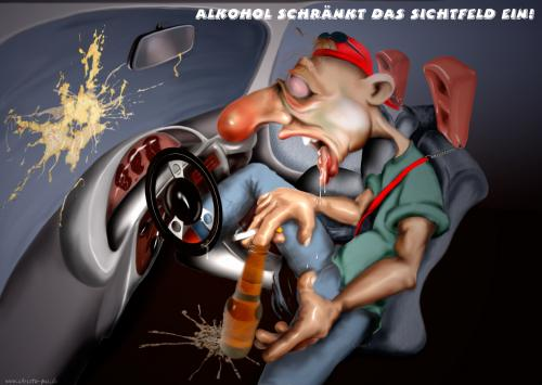 Cartoon: Sichtfeld (medium) by KryCha tagged alkohol,beer,auto,verkehrssicherheit