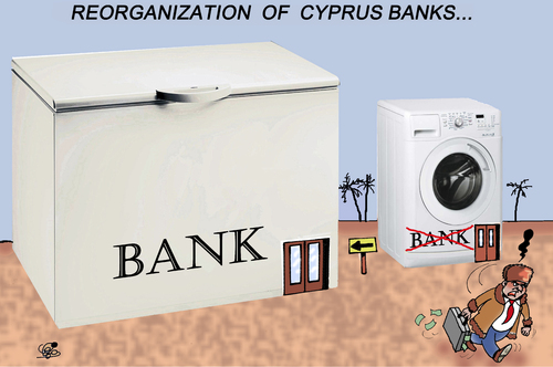 Cartoon: REORGANIZATION OF CYPRUS BANKS.. (medium) by Vejo tagged laundery,money,banks,cyprus