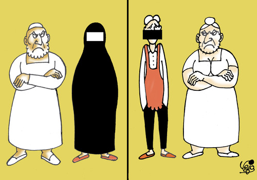 Cartoon: Different culture... (medium) by Vejo tagged culture,boerka,dominant,man,wife