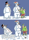 Cartoon: Snowman... (small) by Vejo tagged snow snowman and woman winter