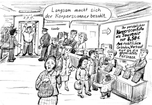 Cartoon: Scansouvenir (medium) by Alan tagged körperscanner,bodyscanner,body,scanner,scan,souvenir,nacktscanner,airport,security,bezahlt,amortisieren,amortize,amortization,photo,foto