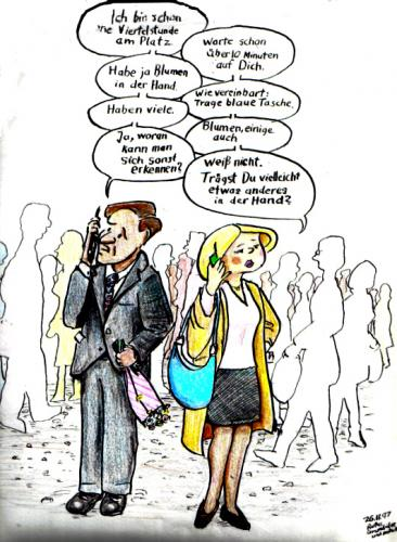 Cartoon: Treffen per Handy (medium) by Alan tagged handy,treffen,mann,frau,verabredung,date,suchen,cell,phones