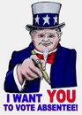 Cartoon: Uncle Sam Pointing (small) by Alan tagged uncle,sam,unclesam,pointing,vote,absentee,pencil,voting