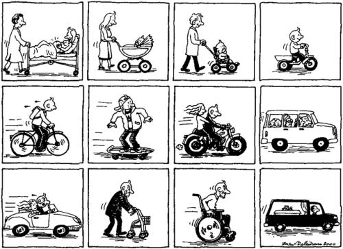 Cartoon: Life on wheels (medium) by deleuran tagged wheels,cars,bicycles,wheelchairs,life,driving,death,