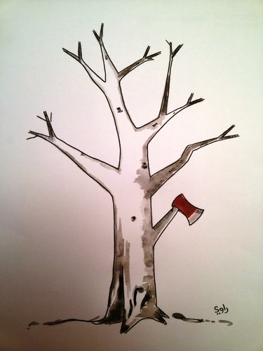 Cartoon: Tree (medium) by Raoui tagged tree,axe
