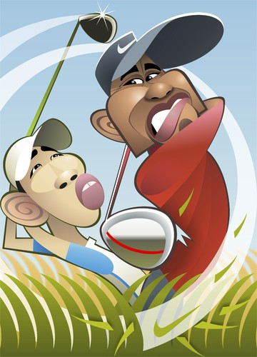 Cartoon: Tiger Woods (medium) by spot_on_george tagged tiger,woods,caricature,golf