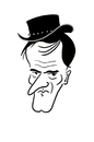 Cartoon: Happy Birthday Quentin (small) by elke lichtmann tagged quentin,tarantino,birthday,cowboy,django,hat