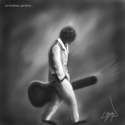 Cartoon: soaked songs (medium) by ressamgitarist tagged drawing,portrait,photoshop