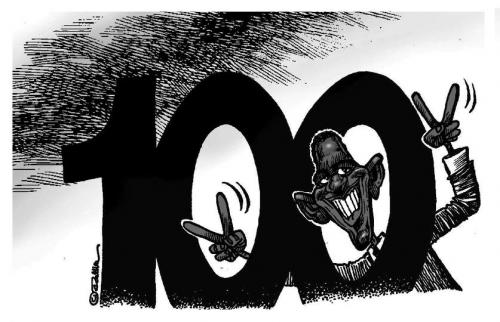 Cartoon: Barack Obama - hundred days (medium) by toon tagged political,cartoon,barack,obama