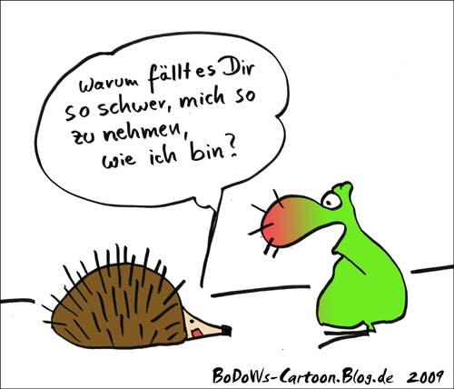 Cartoon: Naturspitzen (medium) by BoDoW tagged stich,beziehung,nähe,ökologie,nase,stachel,igel,natur