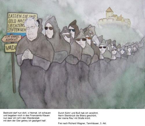 Cartoon: Gesang der älteren Pilger (medium) by Bozo tagged steuerhinterziehung,wagner