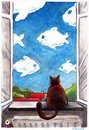 Cartoon: looking... (small) by to1mson tagged cat,katze,kot,window,fenster,okno