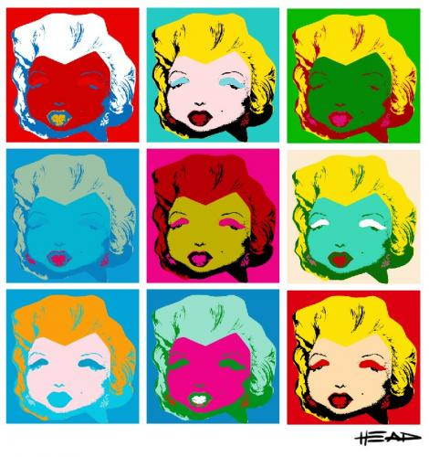 Cartoon: Marilyn Monroe Pop Art (medium) by manohead tagged caricatura,caricature,manohead