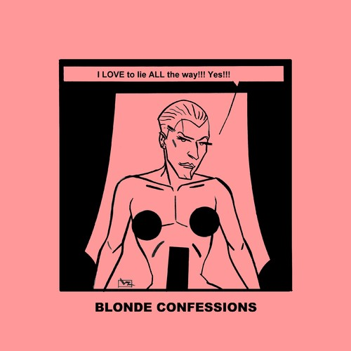 Cartoon: Blonde Confessions - ALL the way (medium) by Age Morris tagged tags,victorzilverberg,atomstyle,blondeconfessions,agemorris,aboutloveandlife,dumbblonde,hotbabe,gayhumour,gaytoon,gay,men,lovetolie,alltheway,yes,lying,lie