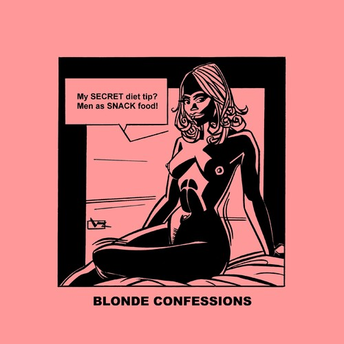 Cartoon: Blonde Confessions - Snack Food! (medium) by Age Morris tagged tags,boobs,hotbabe,dumbblonde,aboutloveandlife,agemorris,blondeconfessions,atomstyle,victorzilverberg,snack,food,snackfood,weightcontrol,diet,secret,success,men,blackboobs
