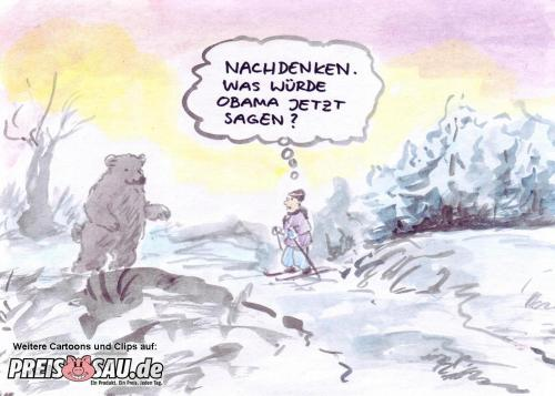 Cartoon: Obama und der Bär (medium) by preissaude tagged obama