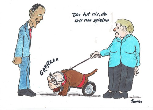 Cartoon: Schäuble (medium) by Skowronek tagged obama,schäuble,merkel