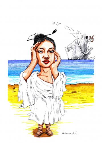 Cartoon: Maria Callas (medium) by Mehmet Karaman tagged 08