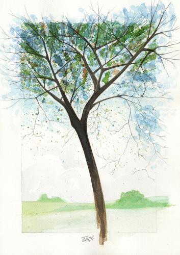 Cartoon: Tree3 (medium) by Jesse Ribeiro tagged nature,landscape,tree,watercolor,illustration
