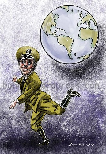 Cartoon: Charlie Chaplin (medium) by Bob Row tagged humor,power,dictator,chaplin