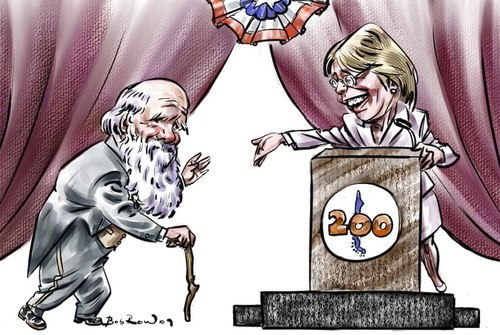 Cartoon: Darwin_Bachelet (medium) by Bob Row tagged darwin,chile,bachelet,science,evolution,anniversary