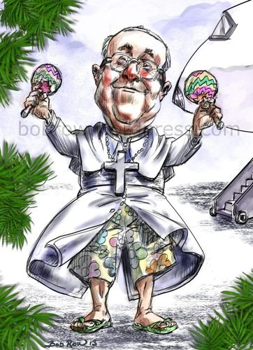 Cartoon: Pope Francis in Rio (medium) by Bob Row tagged pope,francis,rio,brasil,church,religion,catholic