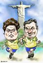 Cartoon: Dilma_Aecio (small) by Bob Row tagged aecio,dilma,neves,rousseff,brazil,elections,democracy