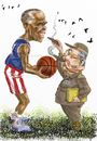 Cartoon: Obama_Castro (small) by Bob Row tagged obama castro cuba usa politics americas summit caricature cartoon basketball cigars