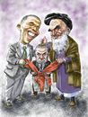 Cartoon: Obama_Khomeini_Netanyahu (small) by Bob Row tagged obama khomeini netanyahu usa iran israel nuclear treaty
