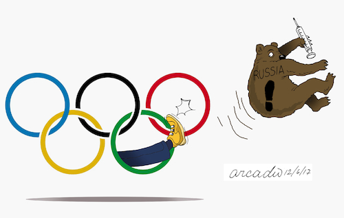 Cartoon: Russia expelled from games. (medium) by Cartoonarcadio tagged russia,olympic,games,sports,drugs