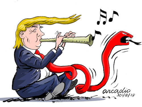 Cartoon: The president of the red tie. (medium) by Cartoonarcadio tagged trump,press,free,trade,finances,diplomacy,foreign,affairs,the