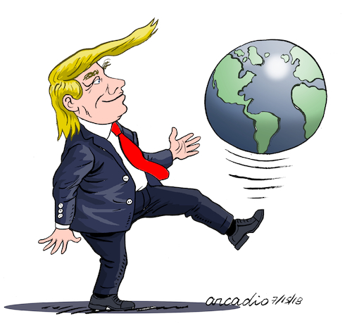Cartoon: Trump plays with the world. (medium) by Cartoonarcadio tagged trump,diplomacy,us,president,government