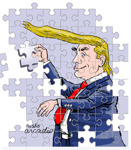 Cartoon: Trump the puzzle. (medium) by Cartoonarcadio tagged trump,white,house,usa,politician