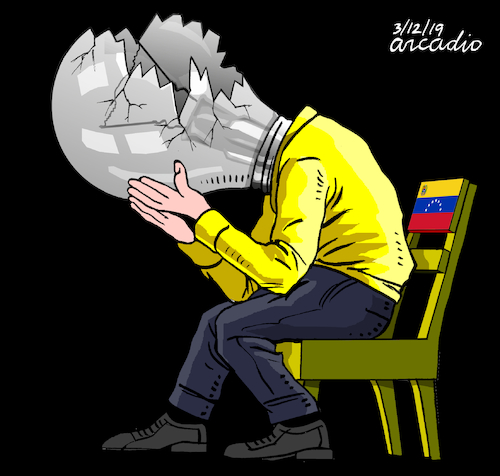 Cartoon: Venezuela is turning off. (medium) by Cartoonarcadio tagged maduro,venezuela,communism,latin,america