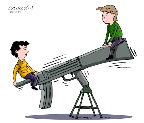 Cartoon: Weapons game. (medium) by Cartoonarcadio tagged weapons,society,violence