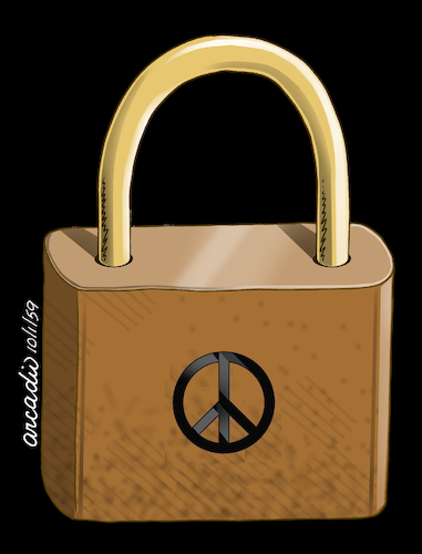 Cartoon: Where is the peace key? (medium) by Cartoonarcadio tagged world,key,peace