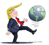 Cartoon: Trump plays with the world. (small) by Cartoonarcadio tagged trump,diplomacy,us,president,government