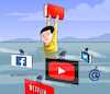 Cartoon: Virtual menaces. (small) by Cartoonarcadio tagged books internet youtube facebook twitter netflix