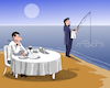 Cartoon: Waiting for fresh food. (small) by Cartoonarcadio tagged humor,fishing,restaurant,food